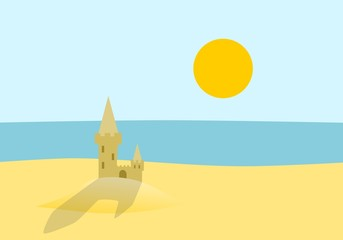 Sand castle - beach and sea