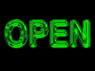 A glowing neon OPEN store sign in green on black