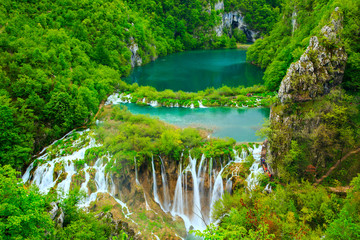Foto auf AluDibond Wasserfalle Waterfalls in Plitvice National Park