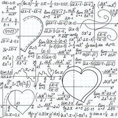 Vector mathematical seamless with formulas and plots of hearts