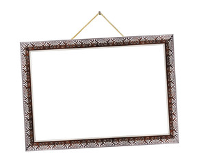 Retro metal frame on rope