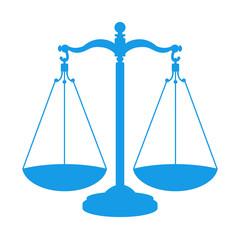 Icono aislado balanza azul