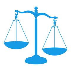 Icono aislado justicia azul