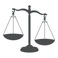 Icono aislado justicia gris