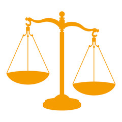 Icono aislado justicia naranja