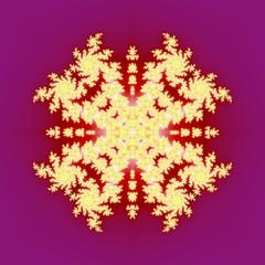 Popular golden fractal ornaments in purlple background.