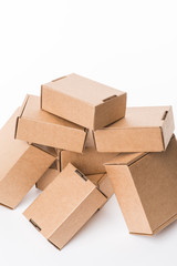 Brown cardboard boxes on a white background