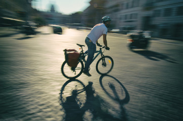 Rome Italy Cyclist Motion Blur