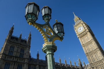 Big Ben and Westminster Palace London Blue Sky Horizontal