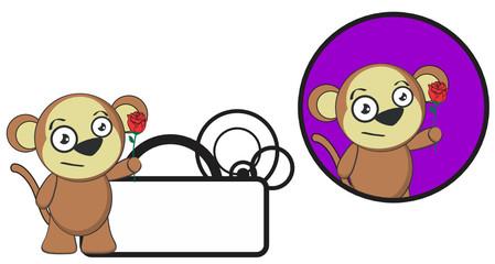 Fotobehang Zoo cute monkey expression cartoon sticker copyspace