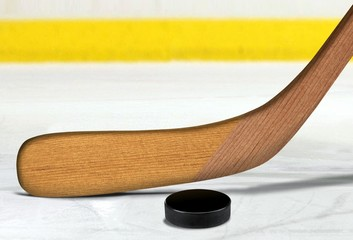 Ice hockey stick and puck on rink
