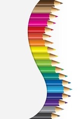 Collections of colour pencils  in curved concept
