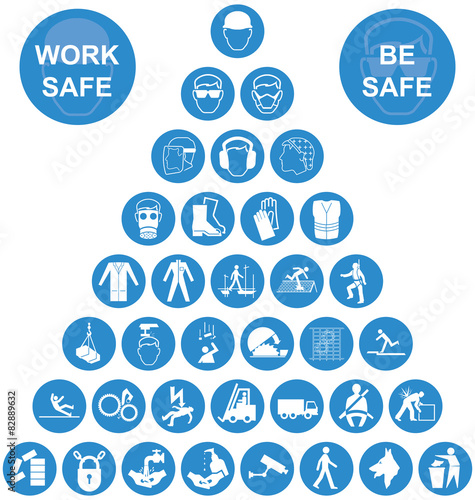 Blue pyramid health and safety icon collection imagens e - Rischi in cucina ppt ...