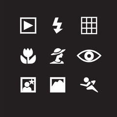 Set of photography icons in black background