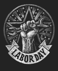 Labor day poster  on the chalkboard