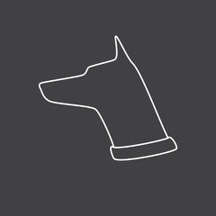 Dog`s head with pricked up ears logo template