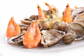 Canvas Prints Seafoods platter of seafood