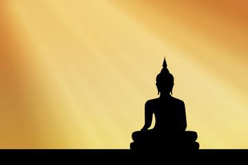 silhouette buddha Sunset background