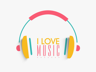 Colorful headphone for Music concept.