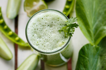 Green smoothies with vegetables. Close-up. Top view