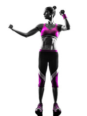 Fototapete - woman fitness Weights exercises silhouette