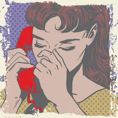 Woman talking on the phone sad pop art comics retro style Halfto