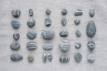 Top view of striped stones