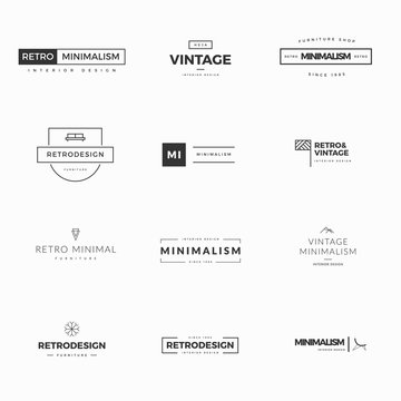 Collection of modern and minimal vintage vector logos