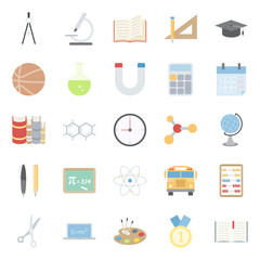 Education and school color flat icons set