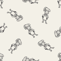medieval people doodle seamless pattern background