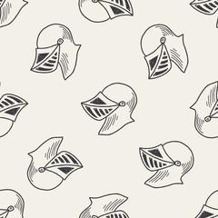 knight helmet doodle seamless pattern background