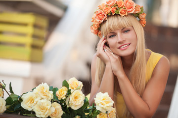 Happy woman flowers outdoor beautiful girl summer