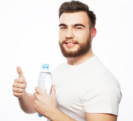 man with  bottle of water