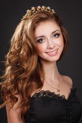 Beaty woman red hair girl bright makeup