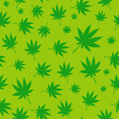 Abstract Cannabis Seamless Pattern Background Vector Illustratio