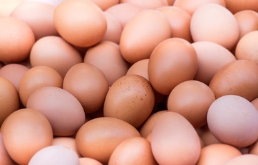 Pile of fresh eggs at supermarket, Easy and simple breakfast, al