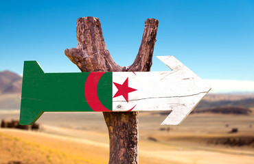Printed roller blinds Algeria Algeria Flag wooden sign with dry background