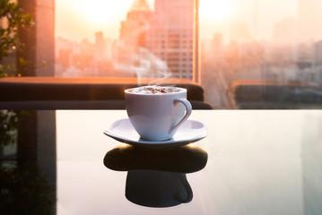 coffee cup sunset capital city bangkok thailand
