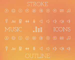 Music Outline and Stroke Icons Set