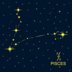 Zodiacal constellations PISCES.
