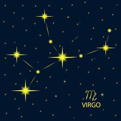 Zodiacal constellations VIRGO. Vector.