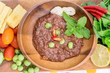 Thai cuisine nam prik or chili paste mixes