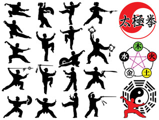 Tai Chi Chuan symbols and silhouettes vector collection