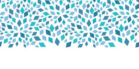 Vector blue mosaic texture horizontal border seamless pattern Wall mural