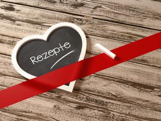 Rezepte Herz Tafel Grußkarte Botschaft