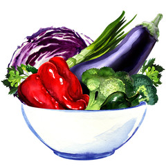 fresh vegetables - eggplant, cabbage, pepper, green onion