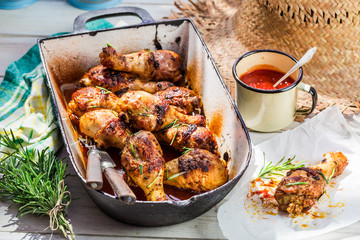 Hot chicken legs with barbecue sauce