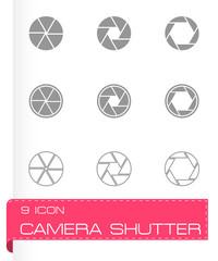 Vector black camera shutter icon set