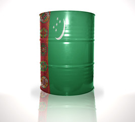 barrel with turkmen flag on the white background