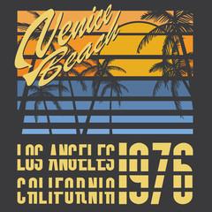 California Venice beach typography t-shirt design vector